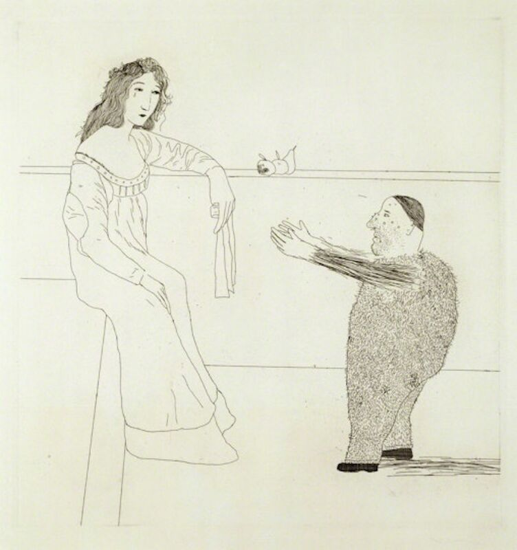 David Hockney, 'Pleading for the Child from Illustrations for Six Fairy Tales from the Brothers Grimm', 1969, Print, Etching with drypoint and aquatint on Hodgkinson handmade wove paper, Grob Gallery