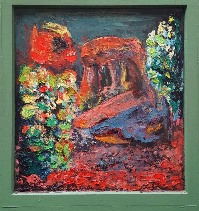 Roast Hoggmann, 'Bermuda Love Triangle', 2011, Painting, Acrylic on antique window, Craig Krull Gallery