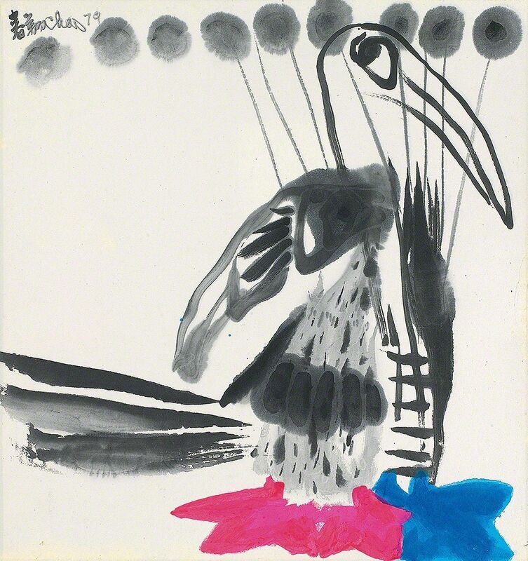 Chao Chung-hsiang 趙春翔, 'Long-tailed Bird', 1979, Drawing, Collage or other Work on Paper, Chinese ink & acrylic on paper, Alisan Fine Arts