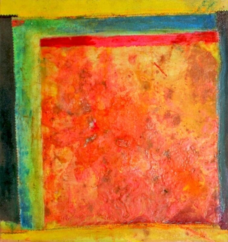Frank Bowling, 'Tablet ', 2002, Painting, Acrylic on Canvas, Collage, Fabric, Elizabeth Clement Fine Art