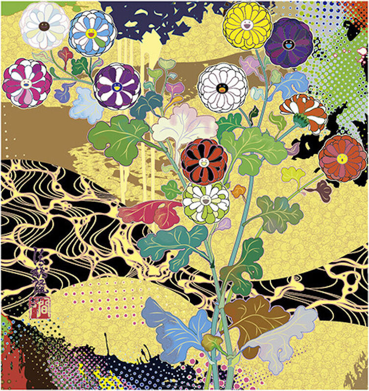 Takashi Murakami, 'Korin: The Time of Celebration', 2016, Print, Offset lithograph in colors, with cold stamp and spot varnishing on wove paper, Upsilon Gallery