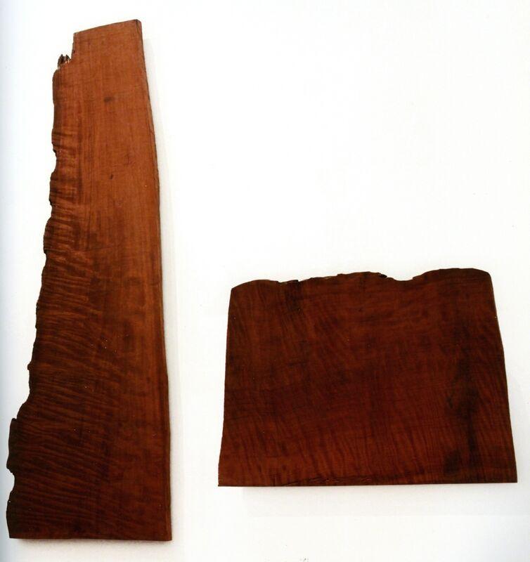 David Nash, 'Two Mountains ', 2011, Sculpture, Redwood, 2 parts: 1) 292 x 101 x 6 cm 2) 112 x 154 x 6 cm, Annely Juda Fine Art