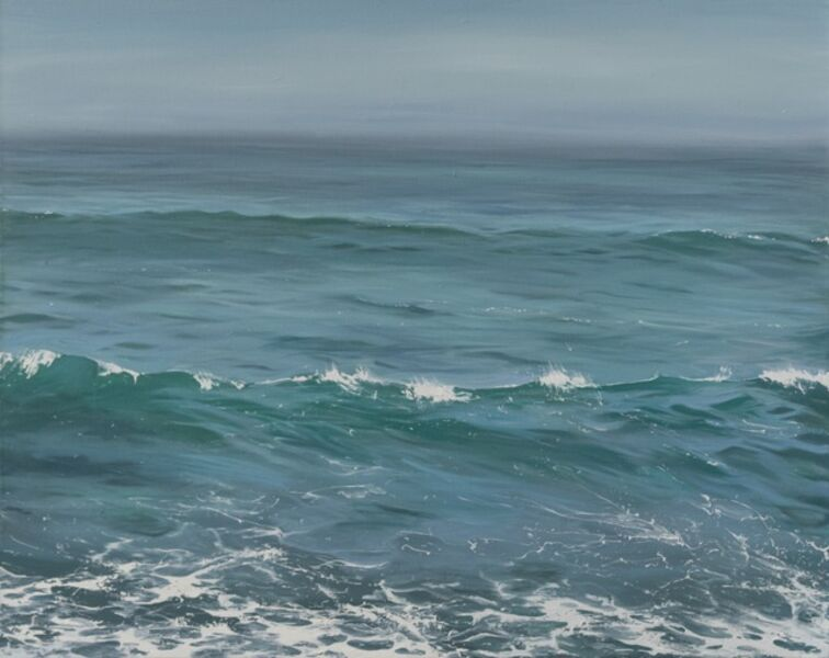 """Annie Wildey, '""""Beyond the Horizon II"""" oil painting of calm ocean water in greens and blues', 2010-2017"""