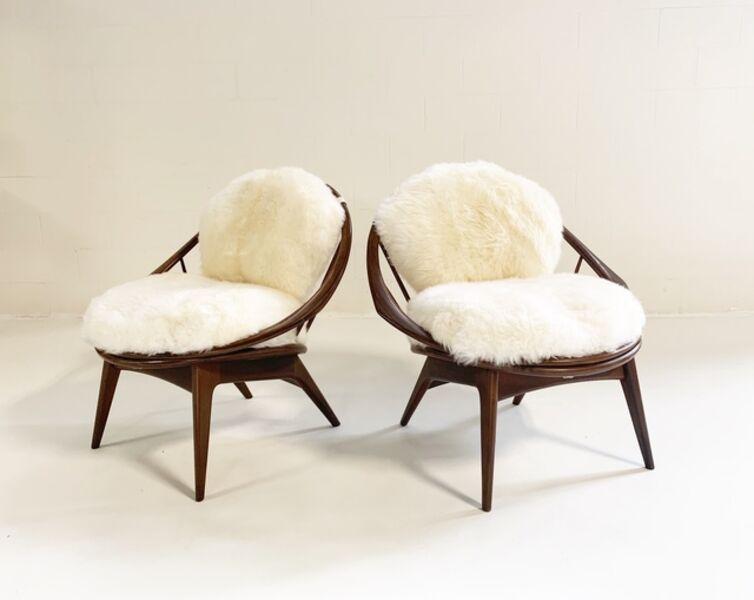 Ib Kofod-Larsen, 'Bentwood Lounge Chairs with Sheepskin Cushions', 1960s