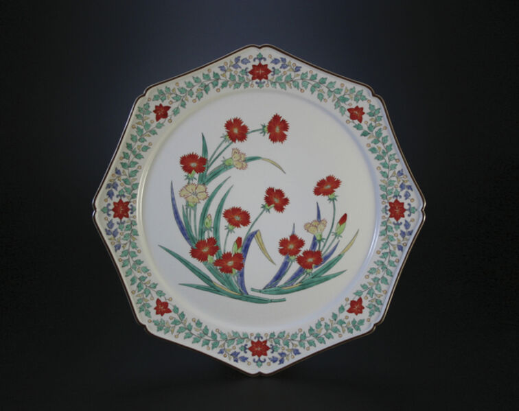 Sakaida Kakiemon XIV, 'Nigoshide white plate  with dianthus patterns', 2012