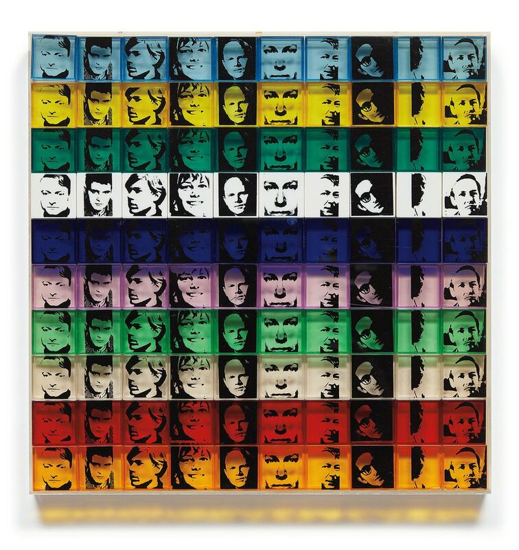 Andy Warhol, 'Portrait of the Artists, from Ten from Leo Castelli', 1967, Print, One hundred screenprints in 10 colors, on polystyrene boxes, the center purple Rosenquist box with a split (measures approx. 1-inch)., Phillips