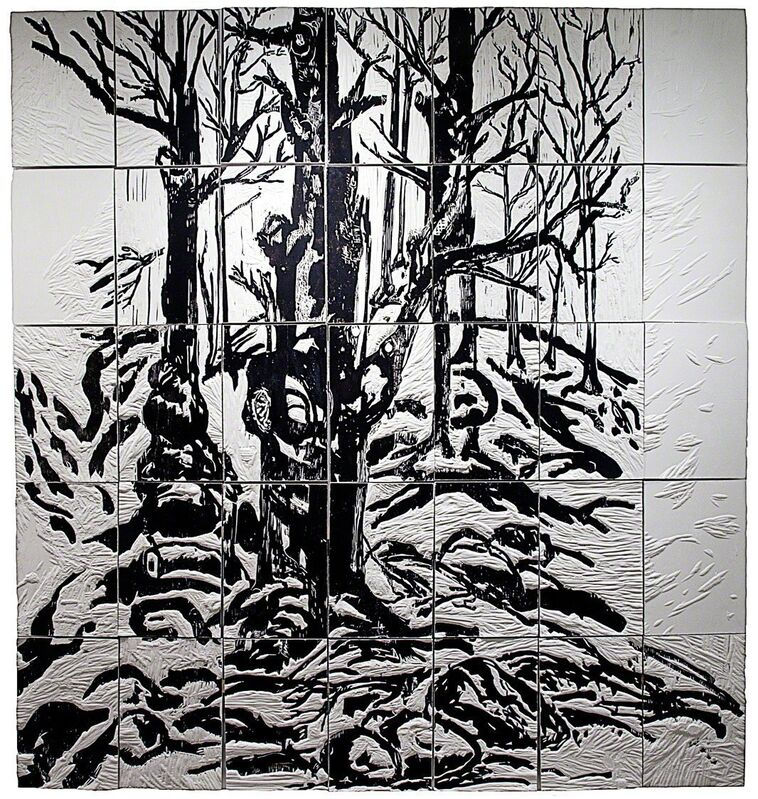 Daniel Heyman, 'Winter: Artist Engages (right panel detail)', 2012, Print, Etching and woodcut on 75 plaster tiles, Cade Tompkins Projects