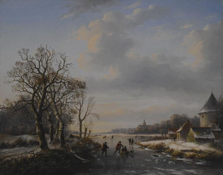 Barend Cornelis Koekkoek, 'Winter Scene at a River', 1847