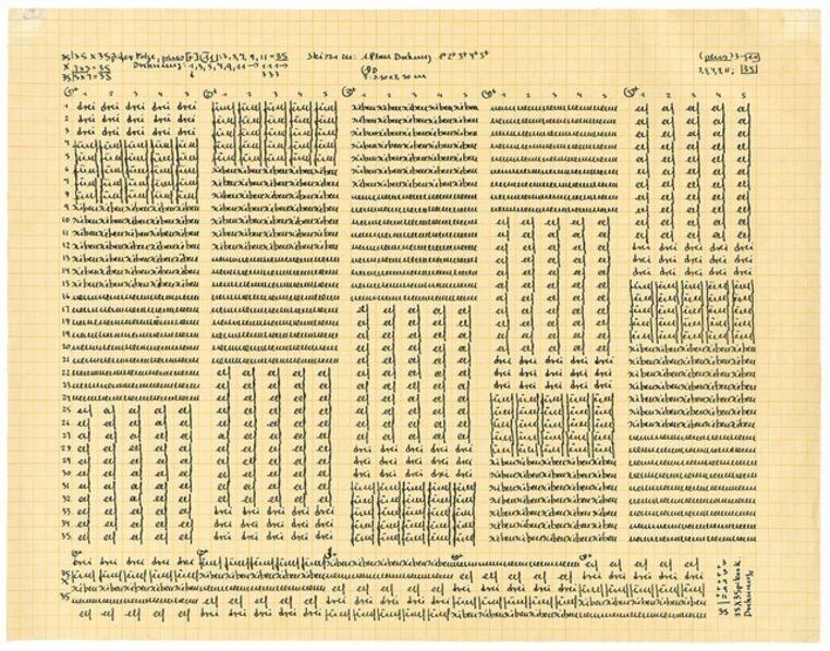 Hanne Darboven, 'ohne Titel (Skizze zu: 1. Plan Drehung 1+2+3+4+)', 1968