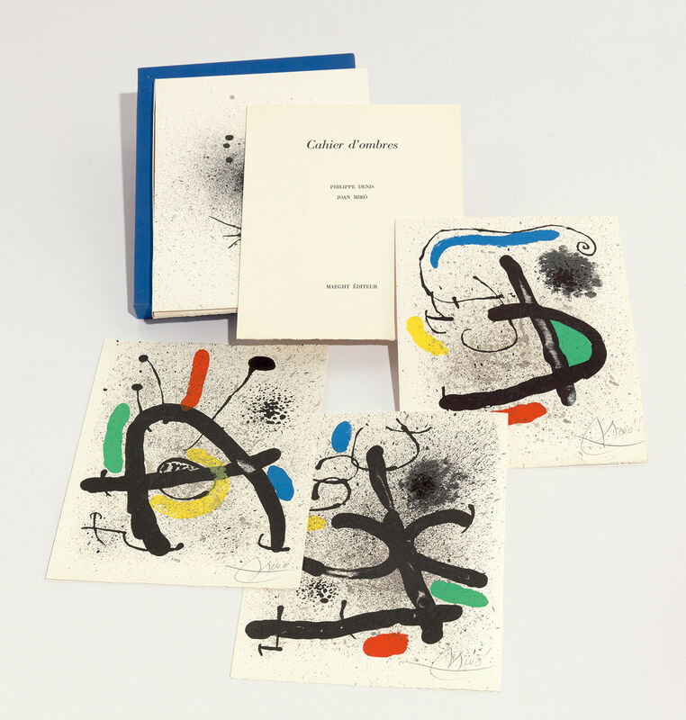 Joan Miró, 'Cahier d'ombres (Shadow Notebook)', 1971, Books and Portfolios, The complete set of four lithographs in colors (one a double page in black for the cover), with text by Philippe Denis, loose (as issued), all contained in the original blue linen-covered portfolio and slipcase., Phillips