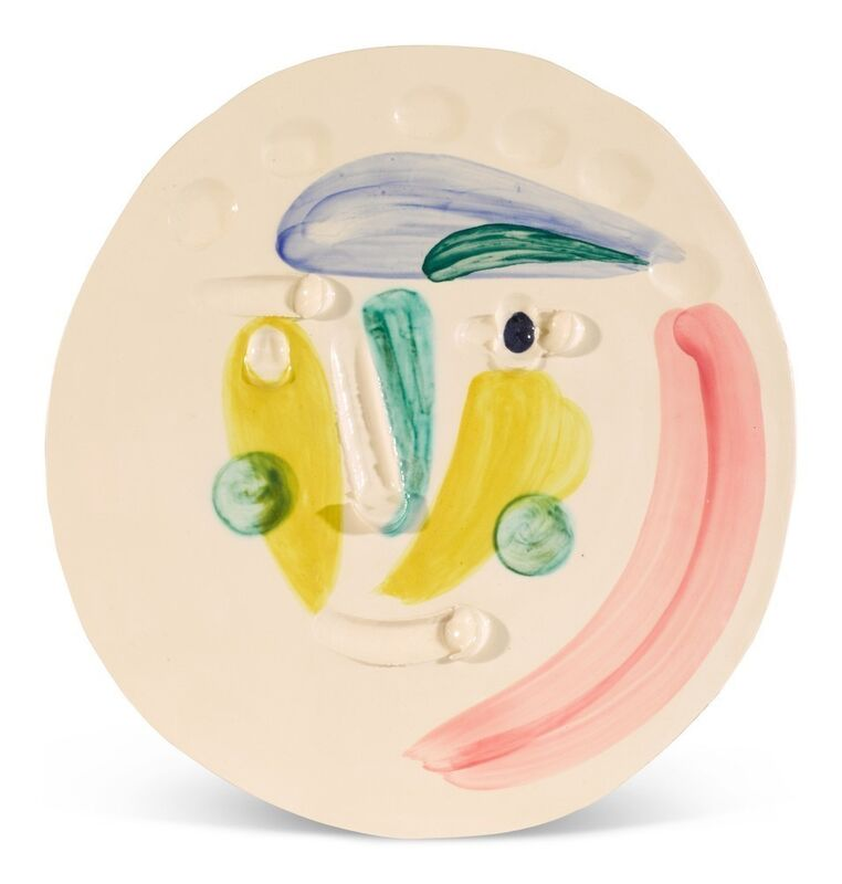 Pablo Picasso, 'Tête', 1956, Sculpture, White earthenware clay, decoration in engobes under brushed glaze, blue, pink, yellow, green, BAILLY GALLERY