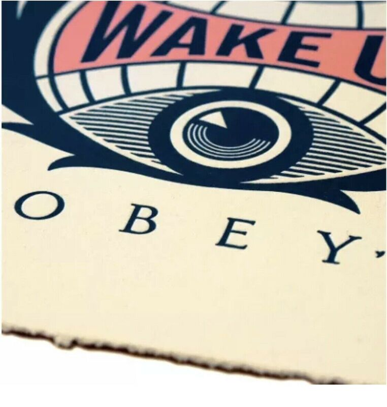 Shepard Fairey, 'Obey Giant Wake Up Earth Letterpress Signed Numbered Shepard Fairey ', 2020, Print, Fine Art Paper on Thick Cream Cotton - Letter Press Edition, New Union Gallery