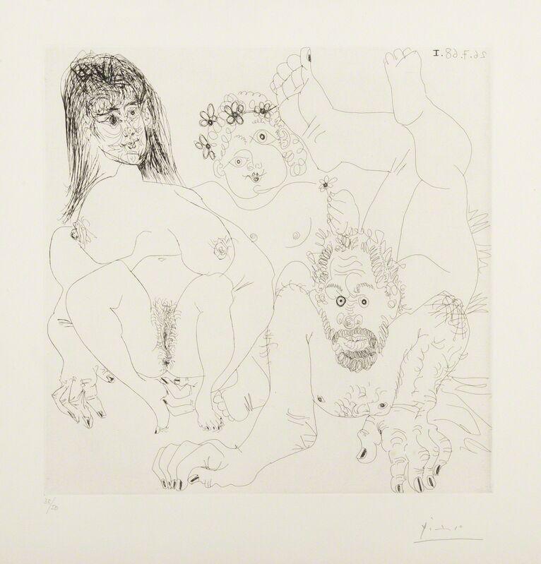 Pablo Picasso, 'Couple Aux Champ, Avec un putto couronne de Fleurs (Bloch 1697)', 1968, Print, Etching, Forum Auctions