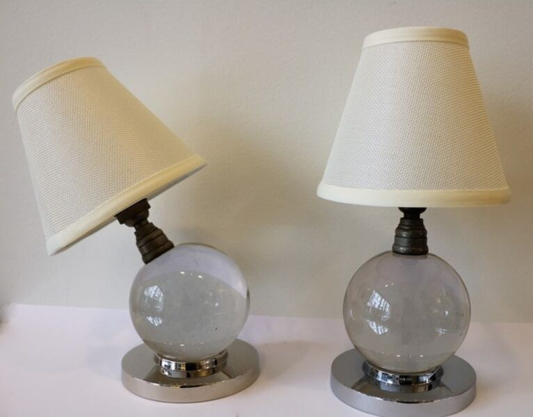 Jacques Adnet, 'Iconic Pair of Table Lamps by Jacques Adnet and Baccarat', ca. 1930