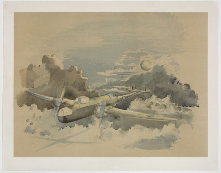 Paul Nash, 'Moonlight voyage, Hampden flying above the Clouds', 1940