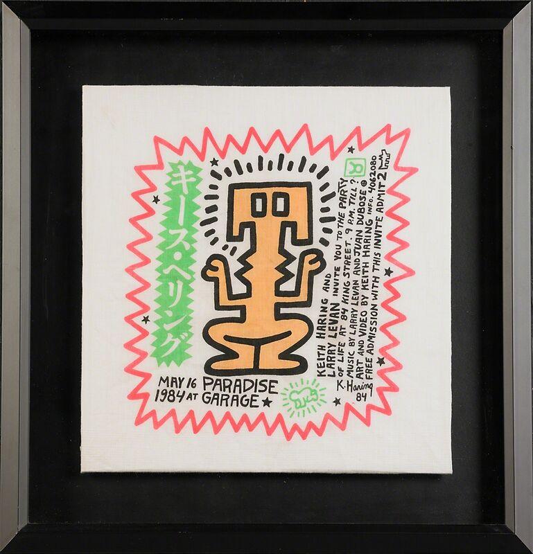 Keith Haring, 'Paradise Garage Birthday Invitation Handkerchief', 1984, Print, Screenprint in colors on man's linen handkerchief, Rago/Wright