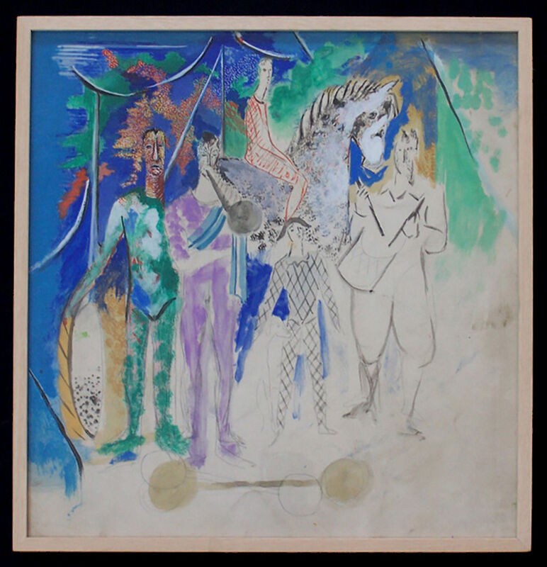 Serge Férat, 'The Circus Parade', 1920-1930, Drawing, Collage or other Work on Paper, Original Gouache and Pencil Painting on paper, Gilden's Art Gallery
