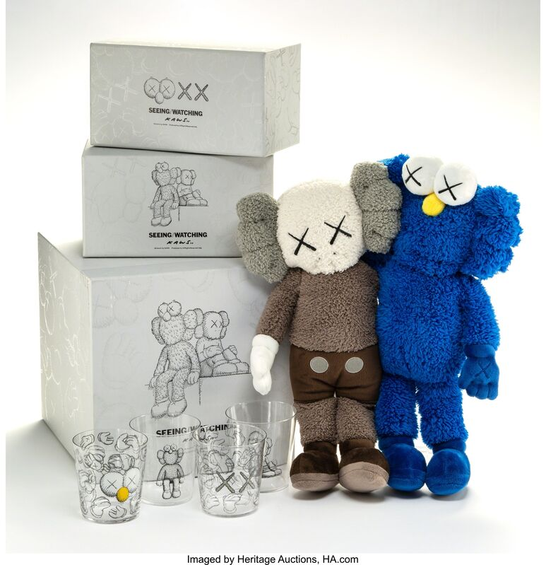KAWS, 'Seeing/Watching', 2018, Other, Four glasses and one plush toy, Heritage Auctions