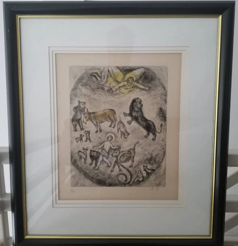 Marc Chagall, 'Bibles Series', 1931-1939, Drawing, Collage or other Work on Paper, Etching with hand-coloring in watercolor on Arches wove paper., Level1 Gallery