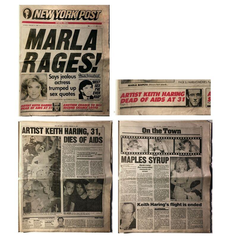 "Keith Haring, '""Artist Keith Haring Dead Of AIDS At 31"", 1990, New York Post Newspaper (complete)', 1990, Ephemera or Merchandise, Print on newsprint, VINCE fine arts/ephemera"