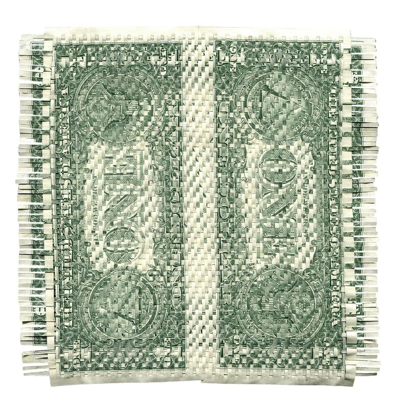 Oriane Stender, 'Untitled Woven Dollar (Front and Back)', 2013, Drawing, Collage or other Work on Paper, Woven dollars, FRED.GIAMPIETRO Gallery