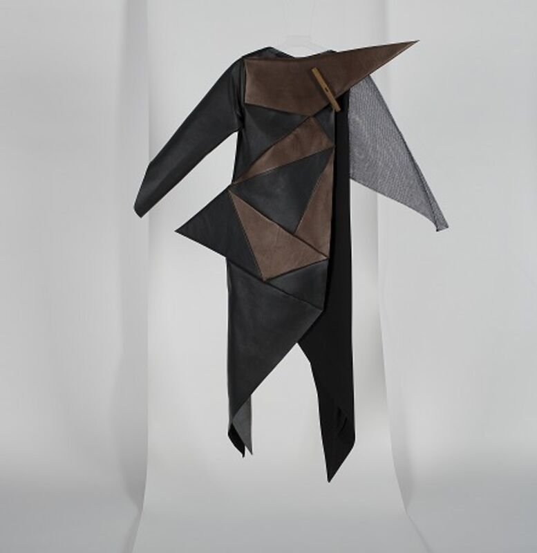 """Pose / Arazzi, 'Before/ After', 2015, Fashion Design and Wearable Art, Polyester, Silk, Camel genuine leather,   and POSE/ARAZZI lining  ( 100% viscous customized with the brand name """"POSE/ARAZZI"""", 1971 - Design Space"""