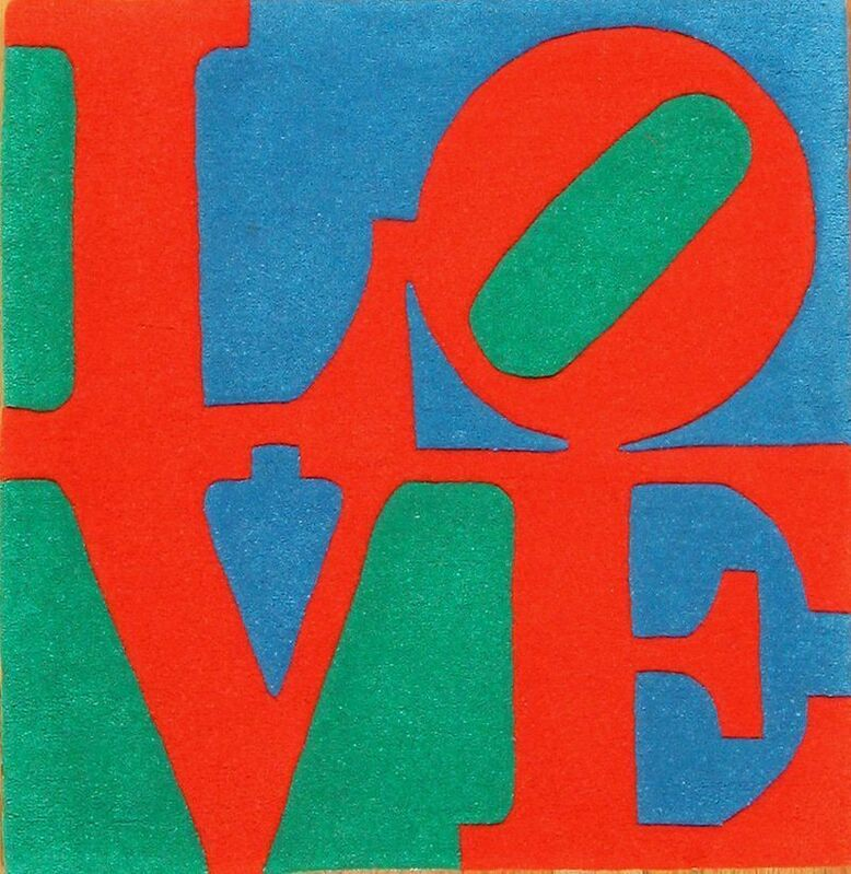 Robert Indiana, 'Classic LOVE tapestry', 1995, Textile Arts, Hand-tufted and hand-carved, skein dyed, two-ply 100% Indian wool on stretched, mounted cotton canvas with Latex backing, Puccio Fine Art