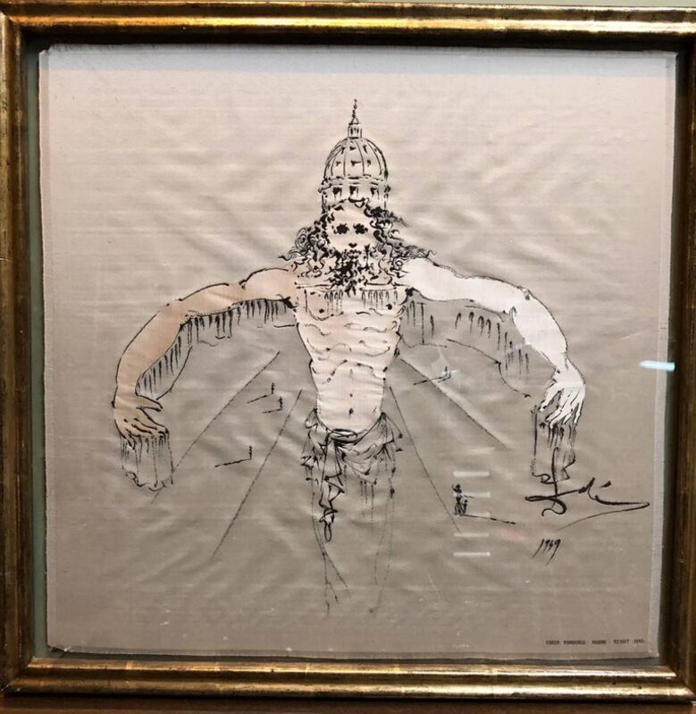 Salvador Dalí, '(after) Dali Rare Unusual Surrealist Silk Tapestry Weaving From Italy 1950', 1950-1959, Textile Arts, Silk, Lions Gallery