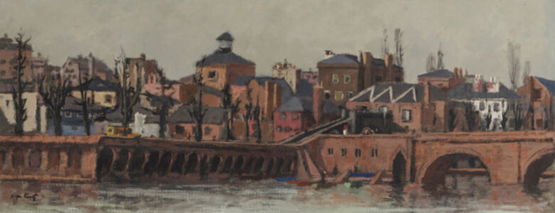Roger Edward Kuntz, 'Cityscape along a river with figures'