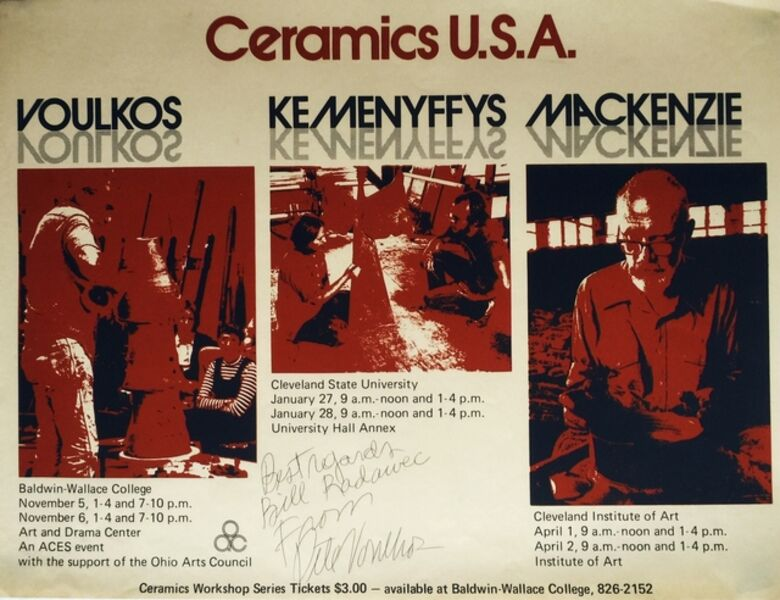 Peter Voulkos, 'Ceramics USA: Voulkos, Kemenyffys, Mackenzie, signed by Peter Voulkos and dedicated to fellow artist Bill Radawec', 1975-1976