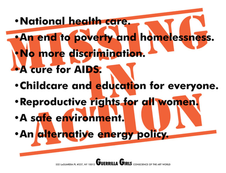 Guerrilla Girls, 'Missing In Action'