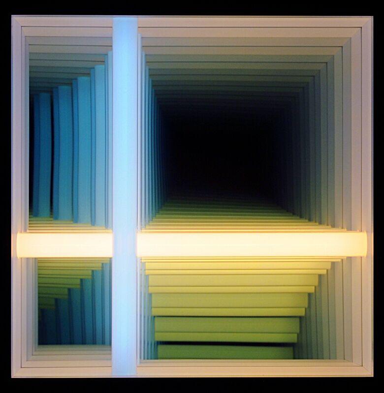 Chul-Hyun Ahn, 'Forked Series #41 (Blue & White)', 2019, Sculpture, Wood, lights, mirrors, hardware, C. Grimaldis Gallery