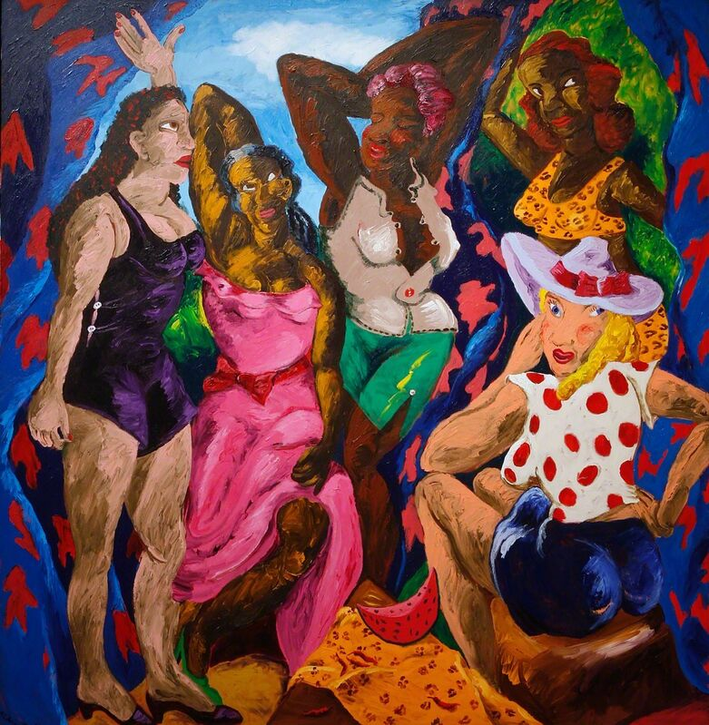Robert Colescott, 'Les Demoiselles d'Alabama: Vestidas', 1985, Painting, Acrylic on Canvas, Seattle Art Museum
