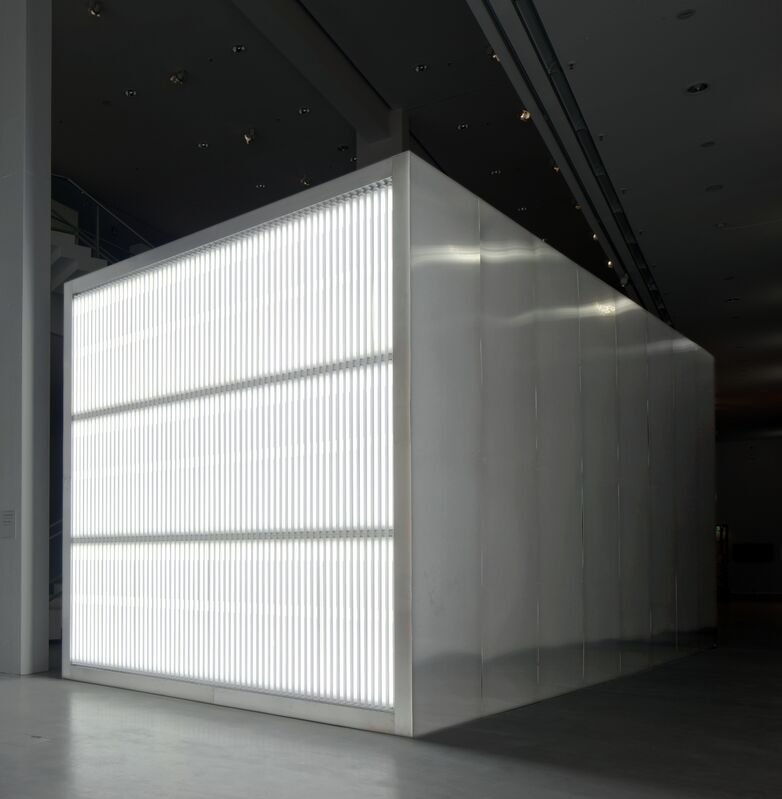 Alfredo Jaar, 'The Sound of Silence', 2006, Installation, Wood structure, metal, fluorescent tubes, LED lights, video projection, tripods, Galerie Thomas Schulte