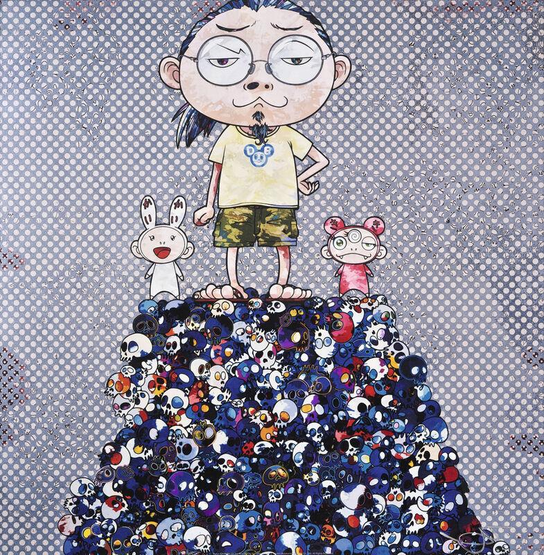 Takashi Murakami, 'Kaikai Kiki & Me: On the Blue Mound of the Dead', 2013, Print, Offset print with cold stamp, Pinto Gallery