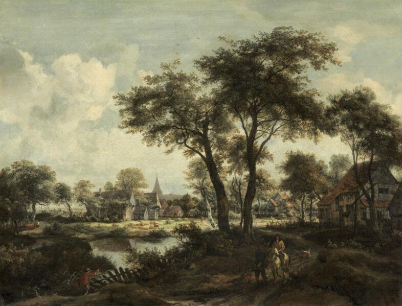Meindert Hobbema, 'Village near a Pool', ca. 1670