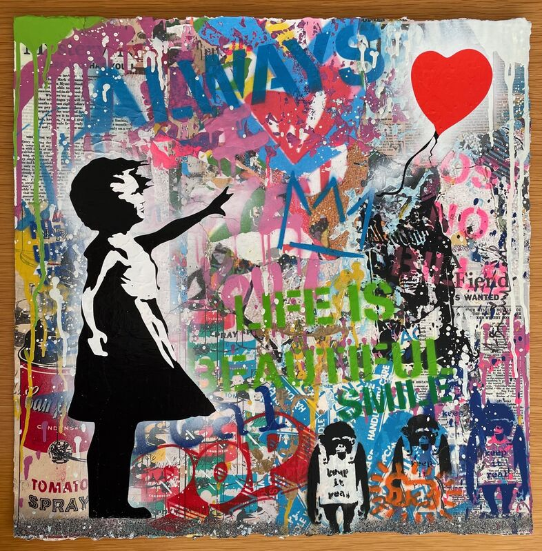 Mr. Brainwash, 'Balloon Girl', 2020, Drawing, Collage or other Work on Paper, Screenprint, acrylic, stencil and paper collaged on paper, Artsy x Rago/Wright