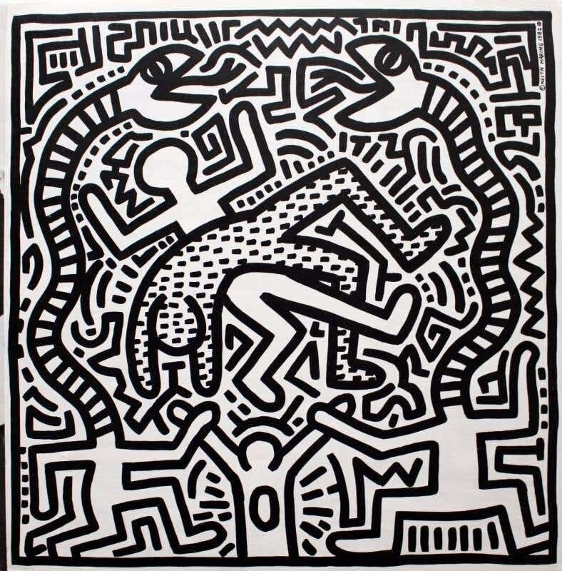 Keith Haring, 'Original Keith Haring Record Art: set of 4 (1980s Keith Haring album cover art)', 1982-1987, Design/Decorative Art, Offset lithograph on 4 individual record cover albums, Lot 180