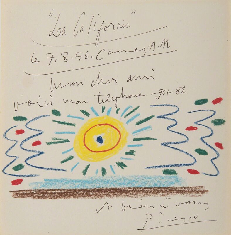 Pablo Picasso, 'Soleil de Méditerranée', 1956, Drawing, Collage or other Work on Paper, Colored pencil on paper, HELENE BAILLY GALLERY