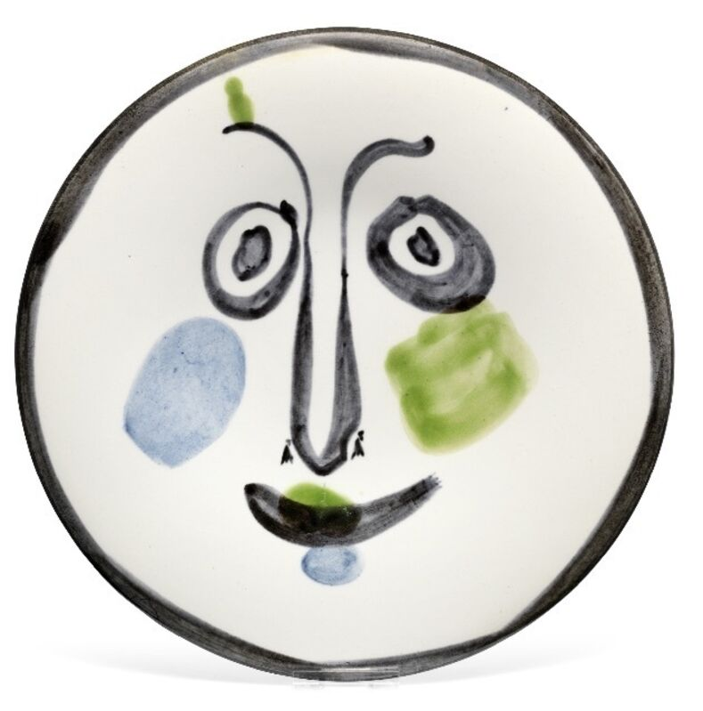 Pablo Picasso, 'Visage n°197 (A.R.494)', 1963, Design/Decorative Art, White earthenware with green, blue and black decoration, HELENE BAILLY GALLERY