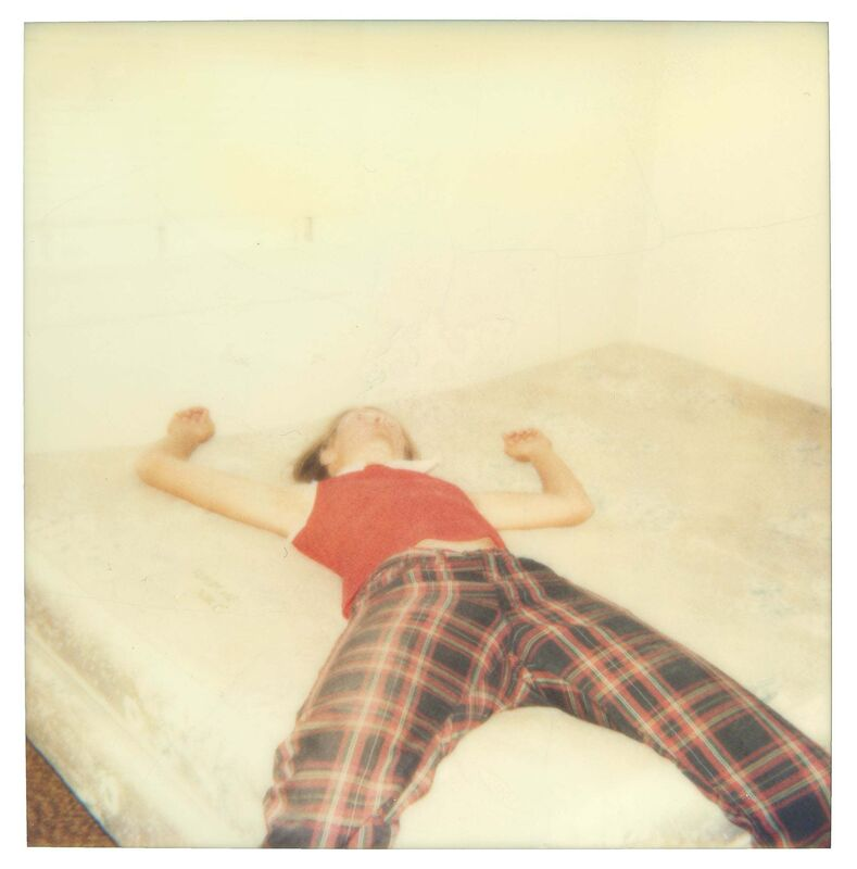 Stefanie Schneider, 'Stefanie on bed looking quite dead (29 Palms, CA) ', 1998, Photography, Analog C-Print, hand-printed by the artist on Fuji Crystal archive paper, mounted on Aluminum with matte UV-protection, based on an expired Polaroid., Instantdreams