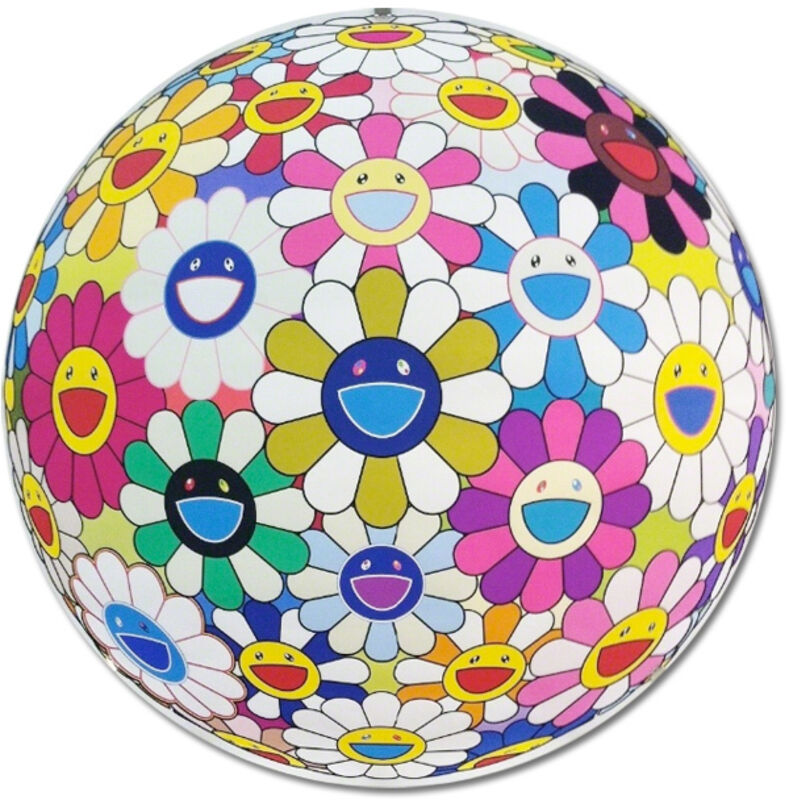 Takashi Murakami, 'Flower Ball (3D) Autumn 2004', 2013, Print, Offset print, cold stamp and high gloss varnishing. Diasec mount., Gallery Delaive