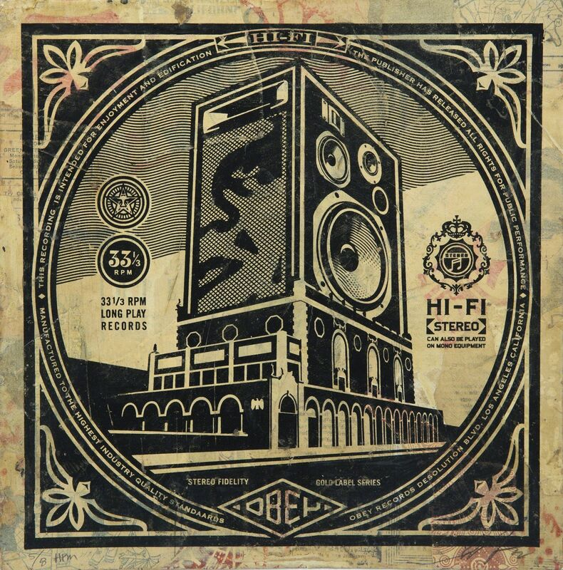 Shepard Fairey, 'Stereo Hi Fidelity', 2014, Print, Screenprint and collage on cardboard, Julien's Auctions