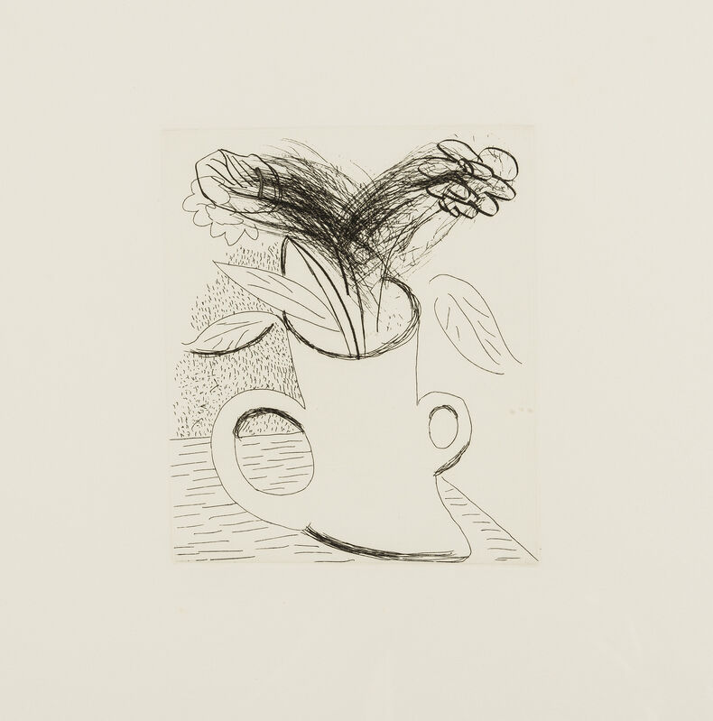 David Hockney, 'Untitled (Flowers in double-handled vase)', 1982-1983, Print, Etching and drypoint printed in black, on hand-made cream wove paper, RAW Editions