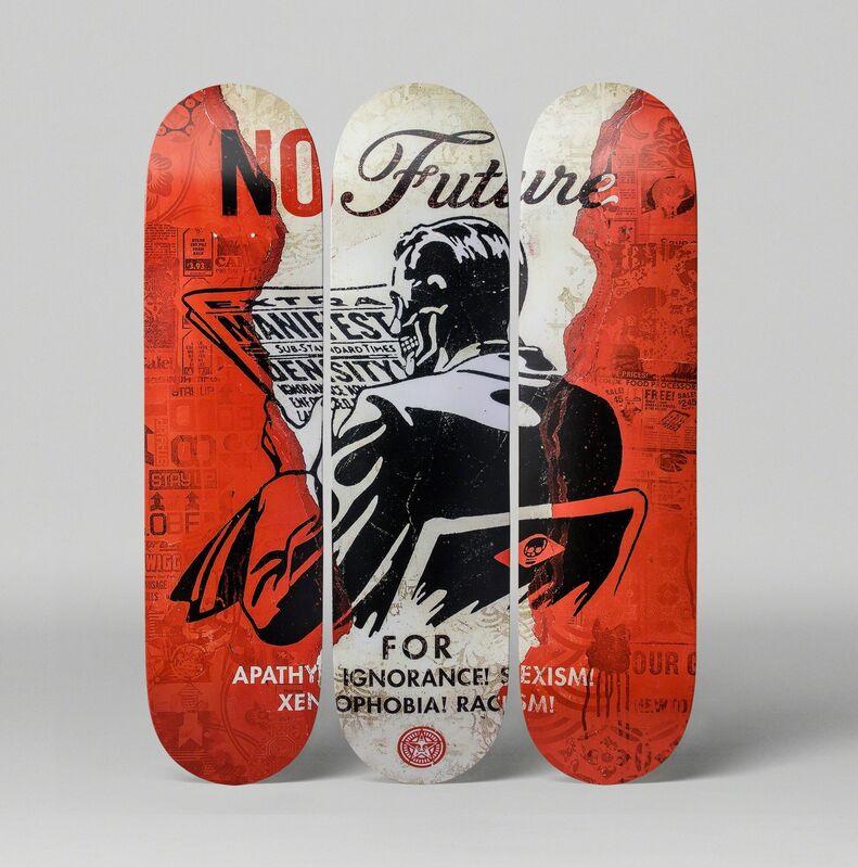 Shepard Fairey, 'No Future Skate Deck (Set of 3)', 2017, Other, Wood, MOCA