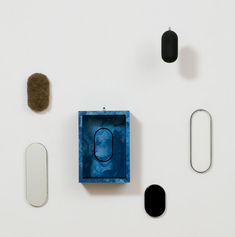 Richard Artschwager, 'Locations', 1969, Sculpture, Formica on wood and 5 blps : wood, glass, plexiglas, mirror and rubberized horsehair with formica, metal chain (unique variant 90), David Nolan Gallery