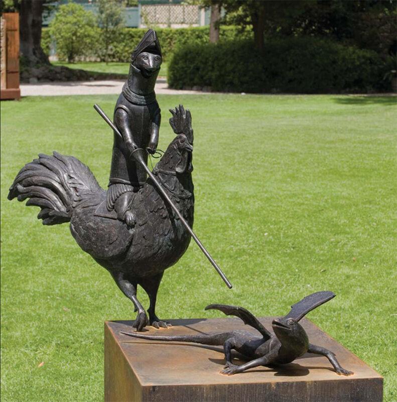 Bjorn Skaarup, 'The Ermine, the Rooster and the Lizard', Sculpture, Bronze and black granite, Cavalier Ebanks Galleries