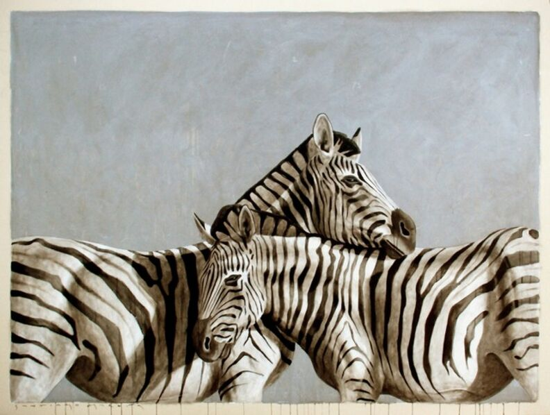 """Santiago Garcia, '""""""""Andante #46"""" Black White and Gray Large Scale Painting of Two Zebras Embracing', 2010-2017"""