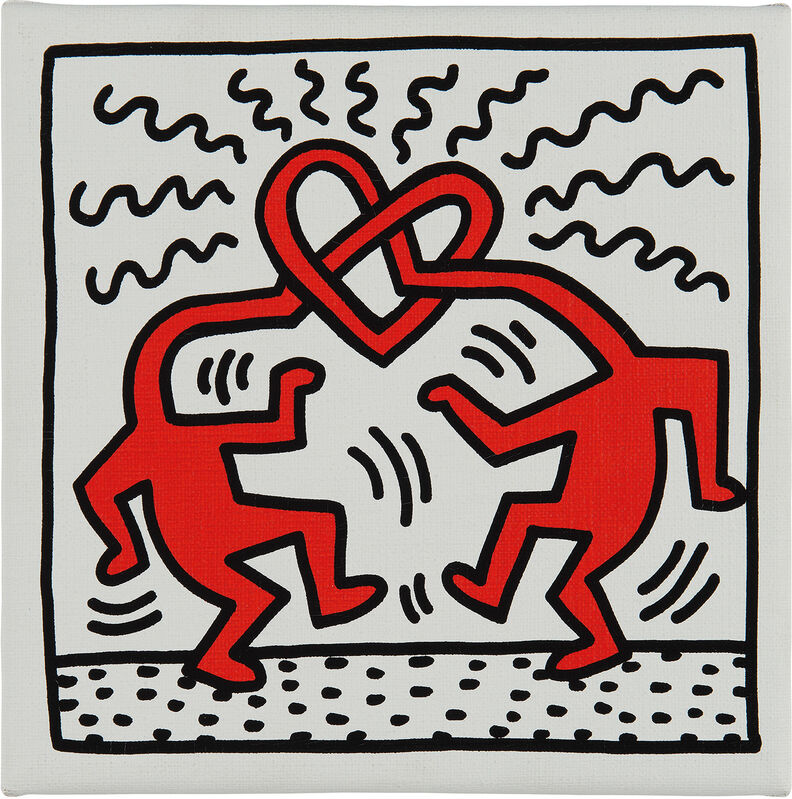 Keith Haring, 'Untitled (two lovers)', 1989, Print, Screenprint in colors, on canvas over wood stretchers., Phillips