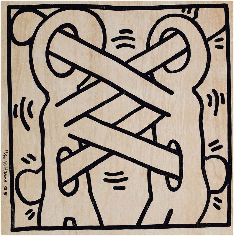 Keith Haring, 'Art Attack on AIDS', 1988, Print, Silkscreen, oak veneer, plywood, Artificial Gallery